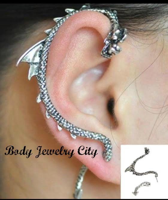 Dragon Ear Wrap Cuff for the Right Ear Ear Silver Tone