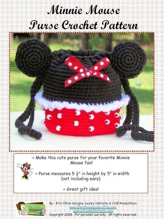 Free Crochet Mickey Mouse Purse Pattern : Minnie Mouse Purse Crochet Pattern Bags, totes, and ...