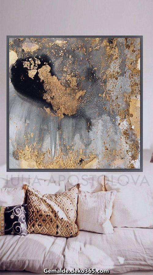 Aquarell Abstrakte Kunst Blattgold Dekor Moderne Malerei Grosse