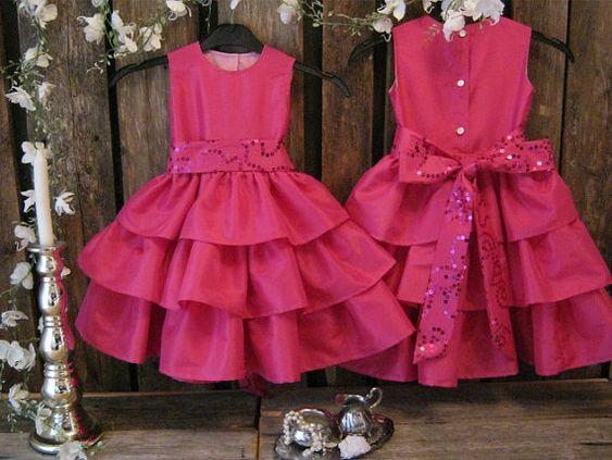 Girls party dress.Hot pink flower girl dress.Colorful wedding ...