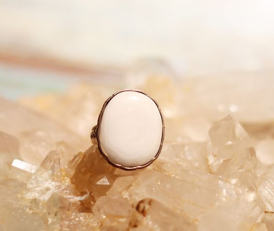 White Turquoise one of a kind silver ring by Sage