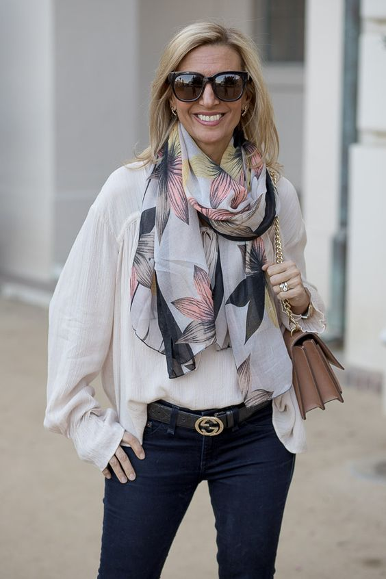 Our Metallic stripe nude blouse and Floral print scarf featured on my blog and available in our shop www.jacketsociety.com