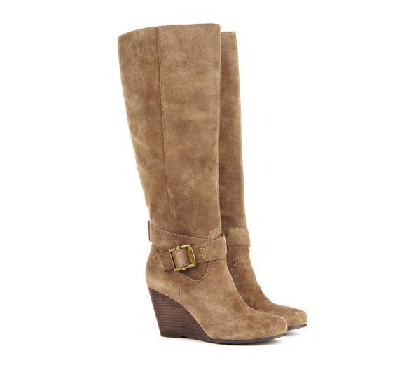 "Suede boot with 3"" wedge heel, $89.95"