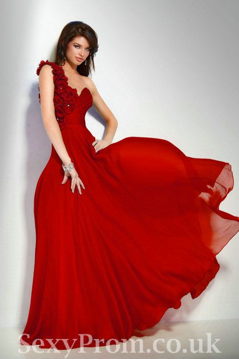Sweetheart Chiffon One Shoulder Beautiful Designer Red Rosette ...
