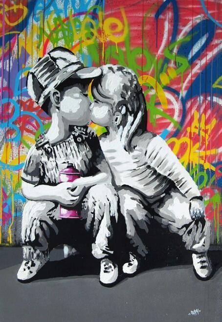 A0 canvas print abstract  Love Heart  graffiti street art  painting