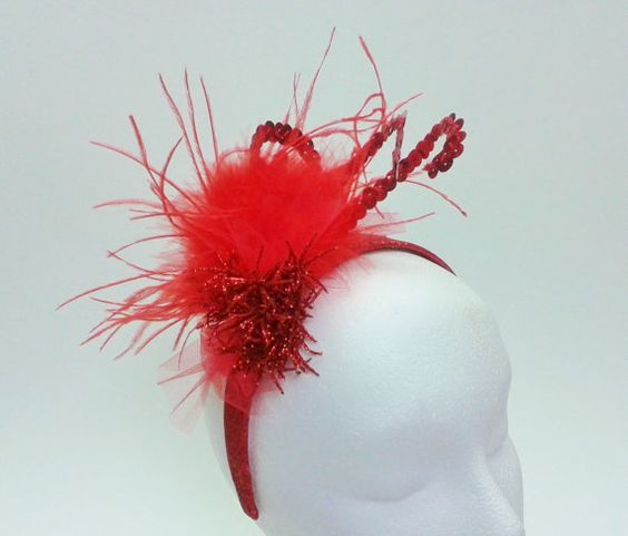 Festive red sparkly headband with ostrich by ShirleysGirlies