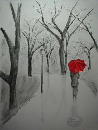 Charcoal Drawings | Pencil and charcoal drawing with the red umbrella painted in oil
