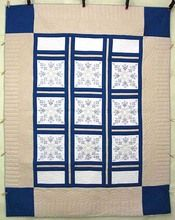 Tan Blue White Star Crystal Embroidered Amish Quilt 82x104 $1,015 (2015)
