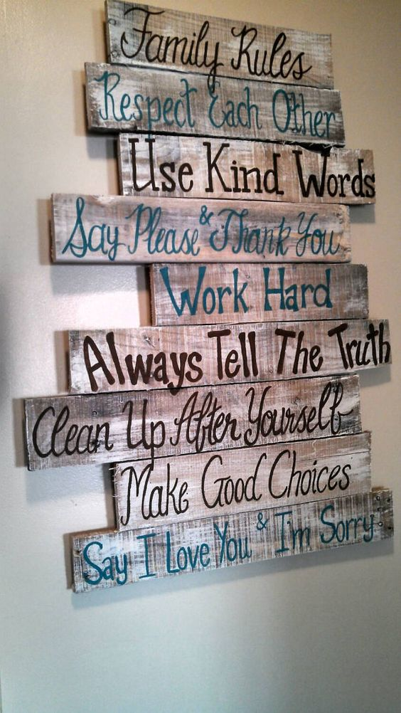 House Family Rules wood pallet sign by southerncutedesigns on Etsy: