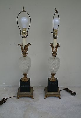 CHIC 60'S HIGH STYLE PRESSED GLASS PINEAPPLE LAMPS