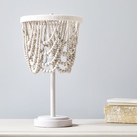 Draped Bead Table Lamp In 2021 Beaded Lamps Wood Bead Chandelier Floor Lamp Makeover