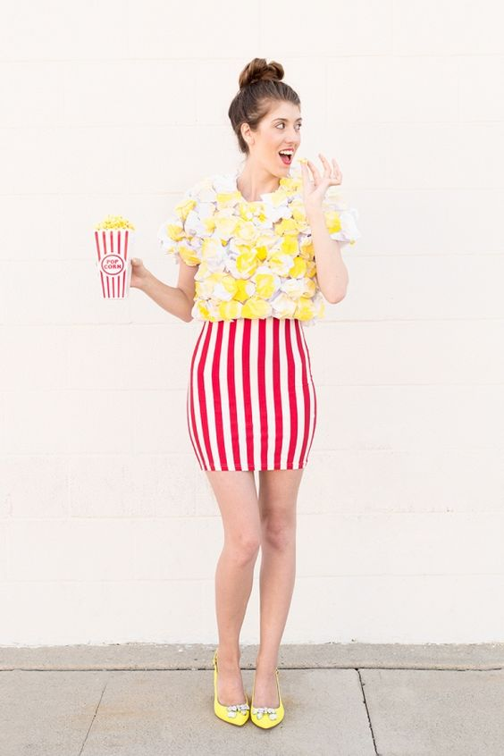 Now here's a costume that really pops (sorry, had to). If you can't find a red and white striped skirt, you can definitely hack one with some white tape or fabric paint.  Get the instructions here.    - Delish.com: