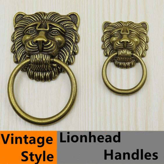 $4.50 (Buy here: http://appdeal.ru/66xq ) Vintage style lionhead  handle bronze drawer cabinet knob pull antique brass dresser door handle drop rings large meatball Knobs for just $4.50