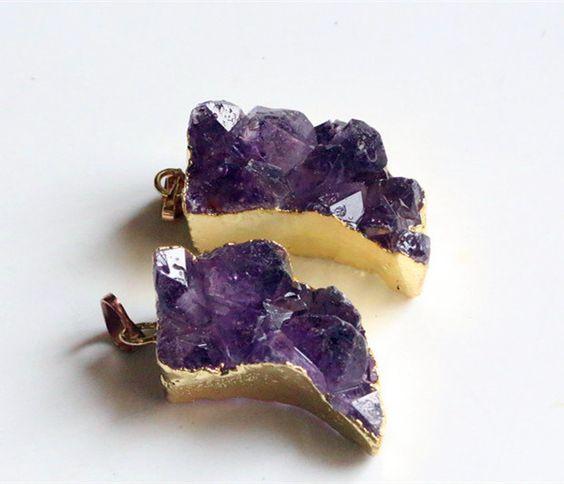 raw Amethyst crystal quartz drusy pendantnatural gemstone drusy pendant healing crystal stone drusy pendant (9.99 USD) by williamsupplies