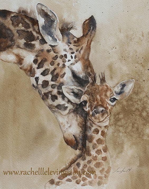 Pour Lui Pour Le Papa Girafe De D Cor Dorm Peinture Girafe D Art Print Aquarelle Aquarelle