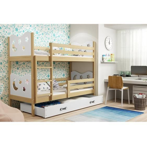 Wirila Bunk Bed With Drawer And Pull Out Bed Bunk Beds With Drawers Bunk Beds Bunk Beds With Storage