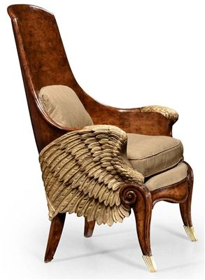 Guardian Angel Chair. A spectacular gilded and finely carved French Empire style chair with scooped back, the walnut veneers around a pair of minutely detailed wings.
