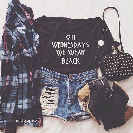 top t-shirt teenagers bag shorts denim shorts cute black tumblr outfit tumblr shirt flannel shirt