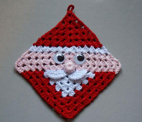free crochet santa claus granny square / hot pad diagram pattern - so cute