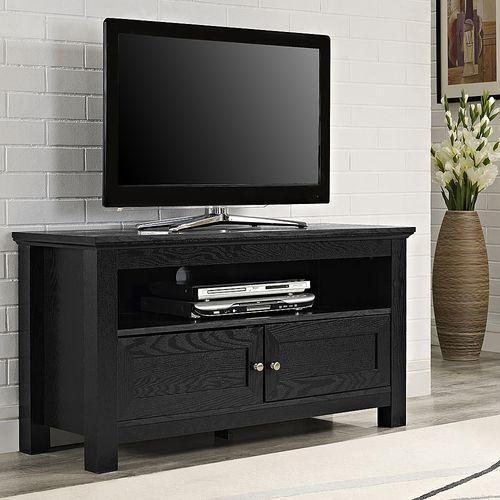 Walker Edison Modern Tv Stand Cabinet For Most Flat Panel Tvs Up To 50 Black Bb44csbl Best Buy Tv Stand Wood Wood Tv Console Black Tv Stand Best buy tv stands on sale