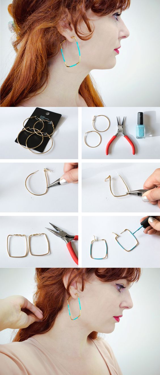 3 minute earring DIY: from hoops to squares! #diy #craft #jewelry