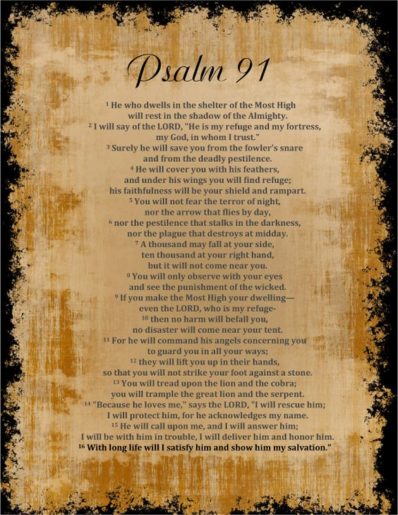 "Psalm 91 Psalm 91   1 Whoever dwells in the shelter of the Most High     will rest in the shadow of the Almighty.[a] 2 I will say of the Lord, ""He is my refuge and my fortress,     my God, in whom I trust."""