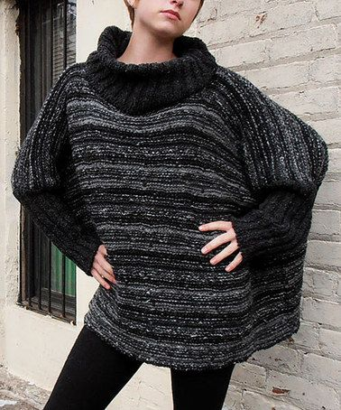 Take a look at this Black & Gray Cowl Neck Cape-Sleeve Sweater by Relais Knitwear on #zulily today! $80 !!