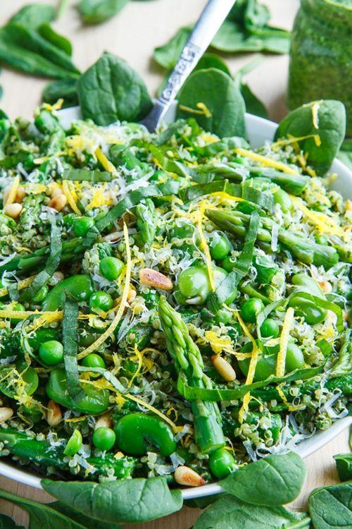 Asparagus and Pea Spinach Pesto Quinoa Salad
