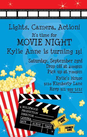 Make it a movie night with this Paper so Pretty invitation.