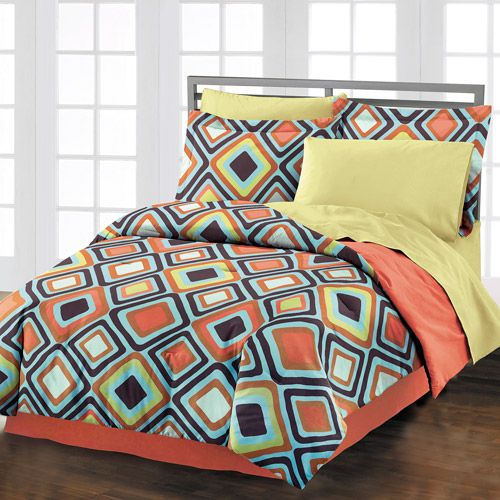Must do double-duty for teenage boy room that will later be a guest room. And this mom has to like it. And it can't be too spendy. Is that too much to ask?  Style Lounge Diamond Comforter Set, Orange/Multi: Bedding : Walmart.com