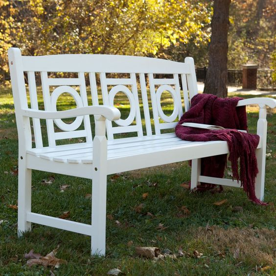 Barrington 5 ft painted wood garden bench white for Painted benches outdoor