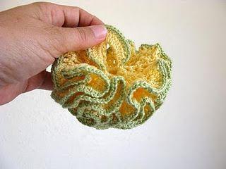 Ruffled Crocheted Dishmop or body pouffe