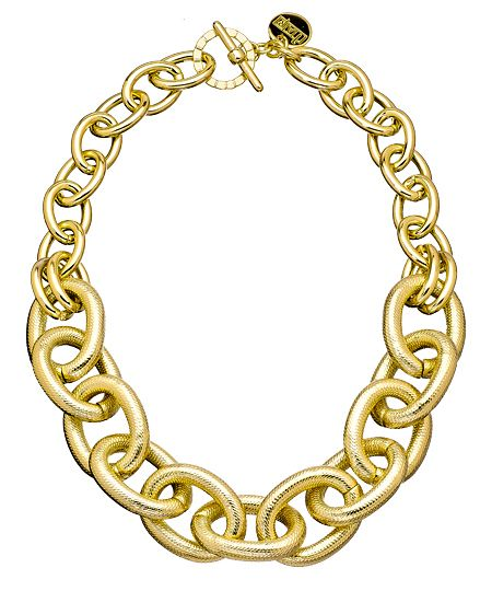1AR By UnoAerre Gold Smooth and Textured Oval Link Necklace