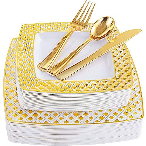 WDF 150PCS Gold Plastic Plates with Disposable Plastic Silverware,Lace Design 25