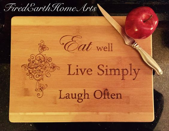Wood Burned Bamboo Cutting Board Eat Well Live Simply