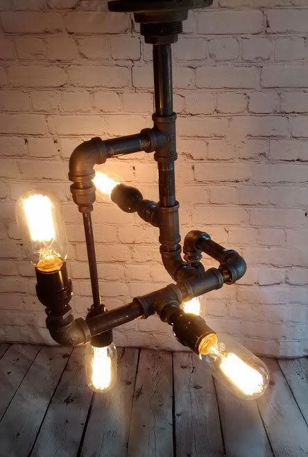 Five Light Industrial Iron Pipe Chandelier / Pendant Beautiful ceiling mounted pipe Lighting Fixture for bars, lofts, Steampunk themes, etc.  *