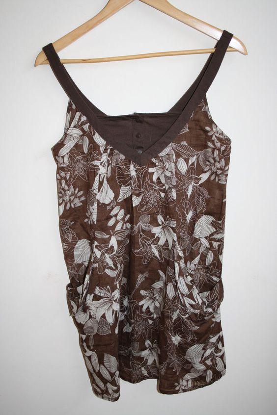 Animal Fashion Designer Woman's Top Cotton Strappy Cami Vest Brown Floral Size10…