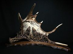 Moose Antler Carving Originals - The Three Howling Wolves by Dmitry Gorodetsky