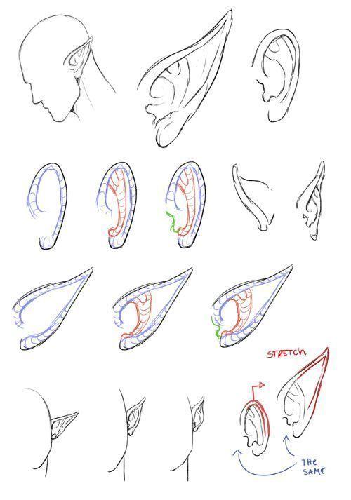 Referencias De Orejas In 2020 Elf Drawings Fairy Drawings Ear Art