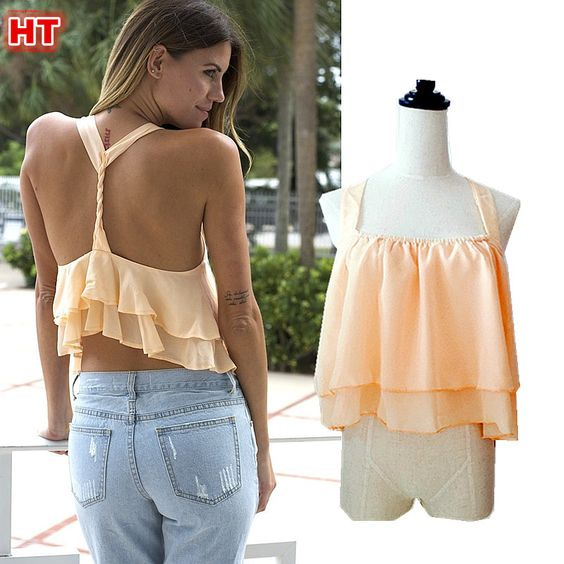 Womens Sexy Back Twisted Double Layer Chiffon Tank Tops Beach Cropped Top Camis