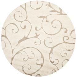 Ultimate Cream/ Beige Shag Rug (6' 7 Round)