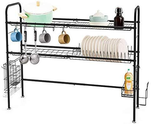 Heomu Dish Drying Rack Over The Sink 2 Tier Dish Drainer For Home
