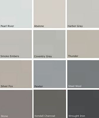Most Popular Gray Paint Colors | More Benjamin Moore Choices/Pewter, Silver  Fox, Thunder, Smoke Embers | HomeSweetHome | Pinterest | Gray Paint Colors,  ...