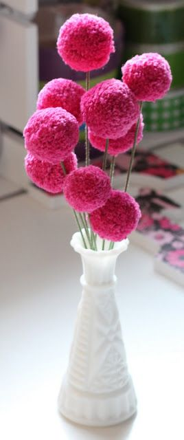 Pom Pom Flower Tutorial from Dill Pickle Design...since I have fallen in love with pom poms, am on a mission to find ways to use them!  These are great!