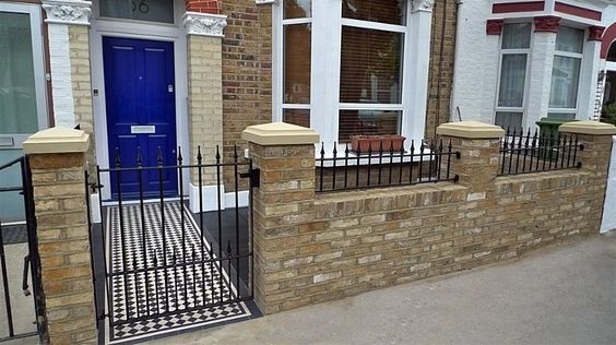 Wsb 840x472 london stock brick wall with fine pointing for Front garden brick wall ideas