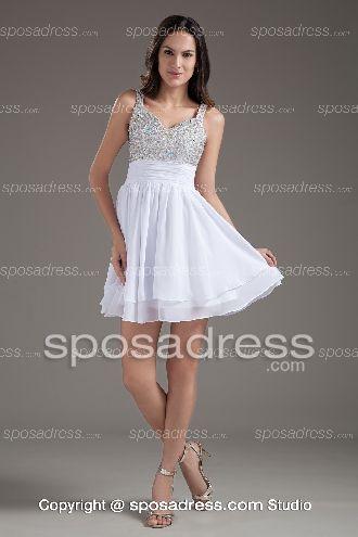 White Faddish Straps Sequined Empire Waist Cocktail Dress