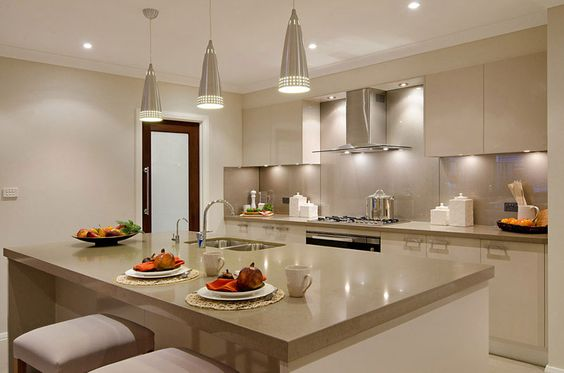 Santorini home kitchens and island bench on pinterest for Mcdonald jones kitchen designs