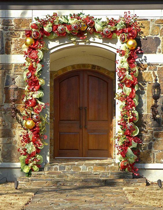Decoracion de la puerta para navidad navidad pinterest for Decoracion navidad