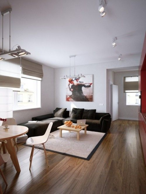 Modern Red Apartment For A Young Couple Visualized Living Room Decor Apartment Small Living Rooms Living Room Decor Neutral Living room ideas young couples