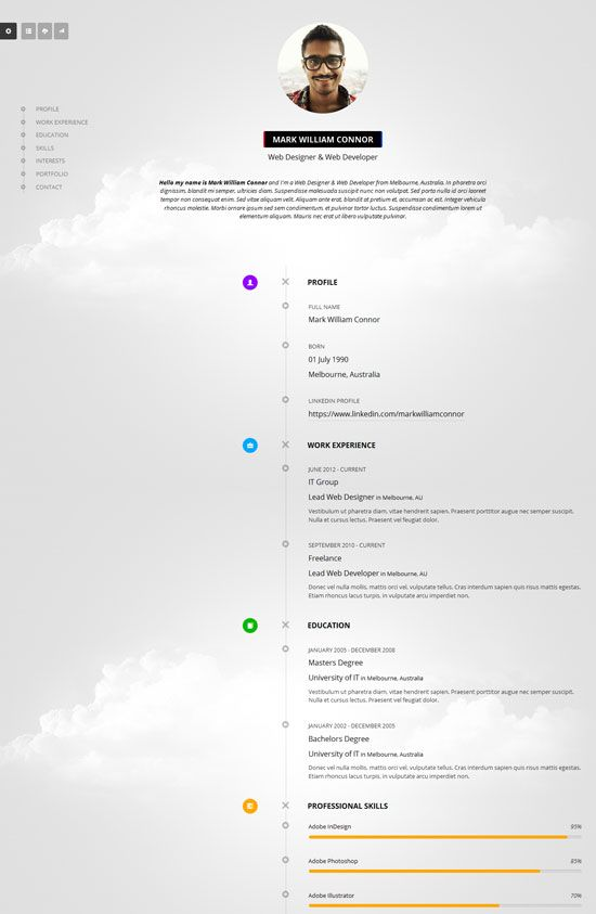 Cv Timeline Creative Resume Portofolio Responsive Cv Vcard Html Template Resume Cv Resume Resume Template Professional